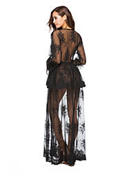 cheap -Women's Lace Going out Club Boho Loose Chiffon Dress - Floral Geometric Black, Lace Peplum Backless High Waist Deep V Spring Black White M L XL / Super Sexy