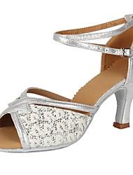 cheap -Women's Latin Shoes Paillette / Leatherette Buckle Heel Sequin / Buckle Cuban Heel Customizable Dance Shoes Silver