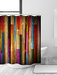 cheap -Vintage Colorful Wooden Shower Curtains, Grunge Rustic Planks Barn House Wood Art Print, Polyester Fabric Waterproof Farm Shower Curtain, Bathroom Accessory Sets, Hooks Included, 70X70in (70X70in)