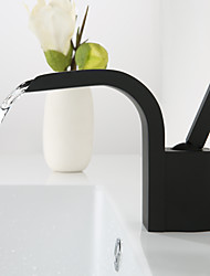 cheap -Faucet Set - Waterfall / Widespread Black Deck Mounted Single Handle One HoleBath Taps