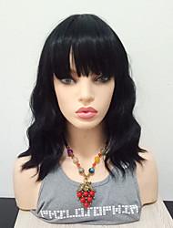 cheap -Synthetic Wig Wavy Kardashian Natural Wavy Bob With Bangs Wig Medium Length Black#1B Synthetic Hair 16 inch Women's Heat Resistant With Bangs Black