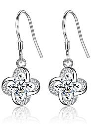 cheap -Women's Diamond Cubic Zirconia tiny diamond Drop Earrings Clover Ladies Sweet Fashion Zircon Earrings Jewelry Silver / Purple For Daily Date