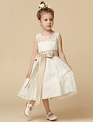 cheap -A-Line Tea Length Flower Girl Dress - Lace Sleeveless Jewel Neck with Lace / Sash / Ribbon / Pleats / First Communion