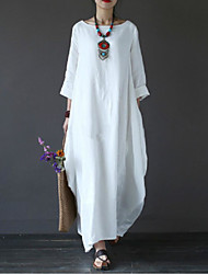 cheap -Women's White Cotton Maxi long Dress - 3/4 Length Sleeve Spring Fall Casual Weekend Cotton Oversized White Black Red Green Light Blue L XL XXL XXXL XXXXL XXXXXL