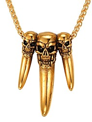 cheap -Men's Pendant Necklace Mexican Sugar Skull Skull Fashion Stainless Steel Gold Silver 55 cm Necklace Jewelry 1pc For Daily