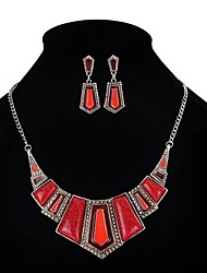cheap -Women's Resin Jewelry Set Geometrical Statement Ladies Vintage Party African Resin Earrings Jewelry Red For Party 1 set / Necklace