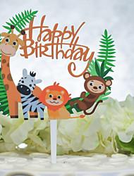 cheap -Cake Topper Birthday Animal Acryic / Polyester Birthday with Acrylic 1 pcs OPP