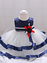 cheap -Baby Girls' Party Going out Patchwork Sleeveless Dress Blue / Cute
