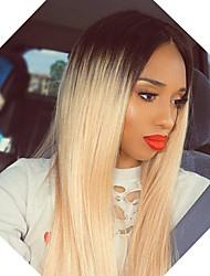 cheap -Remy Human Hair Lace Front Wig Rihanna style Brazilian Hair Straight Brown Wig 130% Density with Baby Hair Ombre Hair Natural Hairline Women's Short Long Human Hair Lace Wig Guanyuwigs
