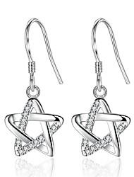cheap -Women's Cubic Zirconia tiny diamond Stud Earrings Star Pentagram Ladies Sweet Fashion Zircon Earrings Jewelry Silver For Daily Date