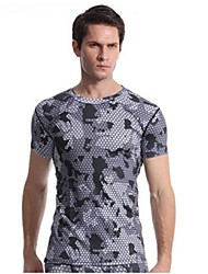 cheap -Men's Camo Hiking Tee shirt Short Sleeve Outdoor Lightweight Breathable Quick Dry Stretchy Tee / T-shirt Top Autumn / Fall Spring Polyester Spandex Crew Neck Road Cycling Camping / Hiking Hunting