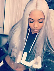 cheap -Remy Human Hair Unprocessed Human Hair Lace Front Wig Bob Short Bob Kardashian style Brazilian Hair Straight Dark Gray Wig 130% Density with Baby Hair Natural Hairline Unprocessed Bleached Knots