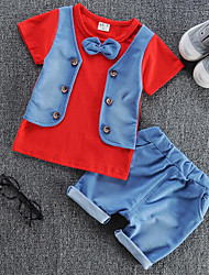 cheap -Baby Boys' Daily Solid Colored / Color Block Patchwork Long Sleeve Regular Regular Clothing Set Red / Cute / Toddler