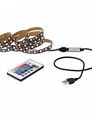 cheap -1M LED Light Strips RGB Tiktok Lights USB Flexible Lamp USB 5V 30 x 5050 SMD 10mm LEDs Blackboard with 24 Key IR Remote Controller for Flat Screen TV Background, HDTV, PC Monitor