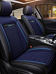cheap -5seats Black blue Four Seasons Universal Car seat cover for 5 seat car/PU Leather and Linen/Ice Silk Cloth Art/Airbag compatibility/Adjustable and Removable/Family car/SUV
