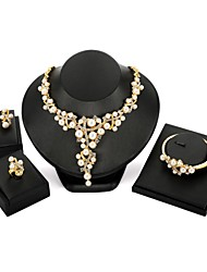 cheap -Women's Pearl Jewelry Set Bracelet Bangles Stud Earrings Floral / Botanicals Flower Statement Ladies Imitation Pearl Zircon Gold Plated Earrings Jewelry Gold For Wedding Evening Party / Ring