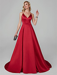 cheap -A-Line V Neck Court Train Tencel Elegant / Red Engagement / Formal Evening Dress with Pleats 2020