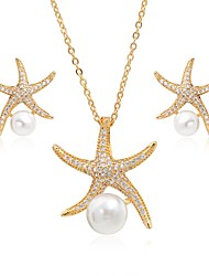 cheap -Women's Cubic Zirconia Pearl tiny diamond Jewelry Set Drop Earrings Pendant Necklace Starfish Ladies Fashion Elegant Pearl Zircon Silver Plated Earrings Jewelry Gold / Silver For Party Valentine
