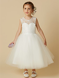 cheap -Princess Tea Length Wedding / First Communion Flower Girl Dresses - Lace / Tulle Sleeveless Jewel Neck with Lace