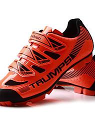 cheap -Tiebao® Mountain Bike Shoes Carbon Fiber Anti-Slip Cycling Black / Yellow Black / Orange Men's Cycling Shoes / Breathable Mesh / Hook and Loop