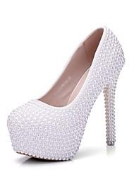 cheap -Women's PU(Polyurethane) Spring &  Fall Sweet Wedding Shoes Platform Round Toe Imitation Pearl White