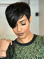 cheap -Human Hair Blend Wig Wavy Pixie Cut Short Hairstyles 2020 Natural Black Natural Hairline Machine Made Women's Medium Auburn#30 Jet Black #1 8 inch