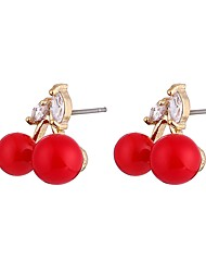 cheap -Women's Cubic Zirconia Pearl Stud Earrings Ladies Classic Sweet Fashion Pearl Zircon Earrings Jewelry Red For Ceremony Prom Promise