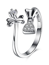 cheap -Women's Open Cuff Ring wrap ring Cubic Zirconia tiny diamond Silver S925 Sterling Silver Ladies Fashion Gift Daily Jewelry Bowknot