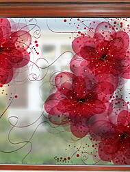 Недорогие -С цветами / Современный 58 cm 60 cm Стикер на окна / Матовая Гостинная / Для гостиной ПВХ