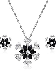 cheap -Women's Cubic Zirconia Jewelry Set Stud Earrings Pendant Necklace Flower Snowflake Ladies Fashion Zircon Silver Plated Earrings Jewelry Silver For Wedding Evening Party