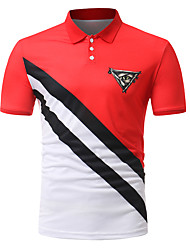 cheap -Men's Color Block Patchwork Slim Polo - Cotton Active Daily Going out Weekend Shirt Collar Black / Red / Summer / Short Sleeve