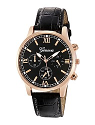 cheap -Men's Dress Watch Quilted PU Leather Black / Brown 30 m Chronograph Analog Classic Fashion - Black Brown One Year Battery Life / Stainless Steel / SSUO LR626
