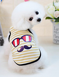 cheap -Dogs Cats Pets Vest Dog Clothes Yellow Blue Pink Costume Dalmatian Beagle Pug Cotton / Polyester Striped Cartoon Japan and Korea Style Casual / Daily S M L XL XXL