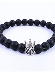 cheap -Men's Women's Crystal Obsidian Black Matte Bead Bracelet Crown Simple European Fashion energy Crystal Bracelet Jewelry Black / Silver / Rose Gold For Gift Daily