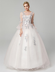 cheap -Ball Gown Illusion Neck Floor Length Tulle / Floral Lace Floral / Elegant Formal Evening / Quinceanera Dress with Appliques 2020