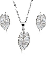 cheap -Women's Cubic Zirconia Jewelry Set Drop Earrings Pendant Necklace Leaf Ladies Sweet Elegant Zircon Silver Plated Gold Plated Earrings Jewelry Gold / Silver For Wedding Party