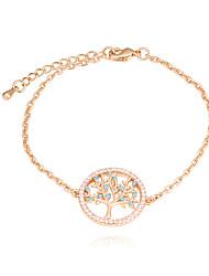 cheap -Women's Cubic Zirconia tiny diamond Bracelet Tree of Life life Tree Ladies European Fashion Copper Bracelet Jewelry Gold / Rose Gold For Daily