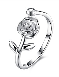cheap -Women's Open Cuff Ring Cubic Zirconia Silver S925 Sterling Silver Ladies Fashion Gift Daily Jewelry Flower