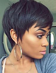 cheap -Human Hair Capless Wigs Human Hair Straight Pixie Cut / Short Hairstyles 2019 Natural Hairline Natural Black Machine Made Wig Women's