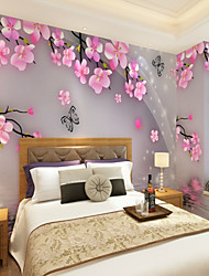 cheap -Custom Hand Painted Peach 3D Large Wall Covering Mural Wallpaper Suitable for Office Bedroom Restaurant Flower