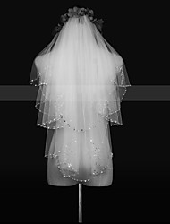 cheap -Two-tier Fashionable Jewelry / Flower Style / Mesh Wedding Veil Chapel Veils with Fringe / Splicing POLY / Tulle / Oval