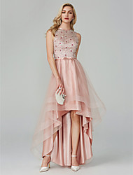 cheap -A-Line Jewel Neck Asymmetrical Satin / Tulle Elegant & Luxurious / Sparkle & Shine / High Low Cocktail Party / Prom Dress 2020 with Beading / Cascading Ruffles / Keyhole