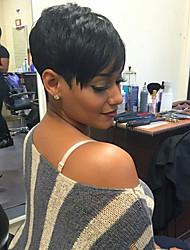 cheap -Human Hair Blend Wig Wavy Pixie Cut Short Hairstyles 2020 Dark Brown Natural Black Natural Hairline Machine Made Women's Medium Auburn#30 Jet Black #1 8 inch