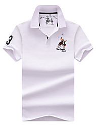 cheap -Men's Polo Solid Colored Tops Cotton Basic White Black Red / Short Sleeve / Work