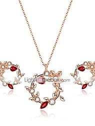 cheap -Women's Cubic Zirconia Jewelry Set Stud Earrings Pendant Necklace Ladies Zircon Gold Plated Earrings Jewelry Gold For Wedding Evening Party