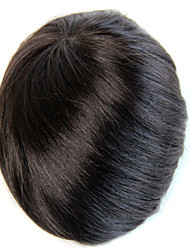 cheap -Men's Human Hair Toupees 100% Hand Tied 7x9inch Mono base with PU around hair dencity 130