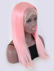 cheap -Remy Human Hair Lace Front Wig Kardashian style Brazilian Hair Straight Pink Wig 130% Density with Baby Hair Natural Hairline Bleached Knots Women's Short Long Human Hair Lace Wig Guanyuwigs