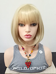 cheap -Synthetic Wig Straight Bob With Bangs Wig Blonde Medium Length Blonde Synthetic Hair 14 inch Women's Heat Resistant With Bangs Blonde