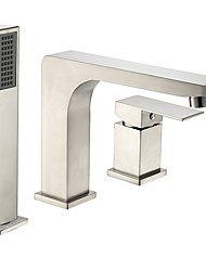 cheap -Bathtub Faucet Set Stainless Steel Contemporary Antique Nickel Brushed Roman Tub Ceramic Valve Bath Shower Mixer Taps / Two Handles Three Holes