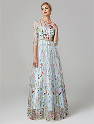 cheap -A-Line Elegant Floral Holiday Formal Evening Valentine's Day Dress Illusion Neck 3/4 Length Sleeve Floor Length Lace Tulle with Embroidery 2021